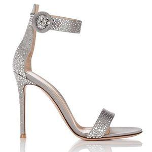 NIB Gianvito Rossi Iridium Studded Satin Sandals